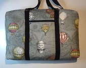 Large blue grey linen, balloon tote bag,One of a kind holdall, unique large hobo bag, travel bag, baby bag, shoulder bag, zip up bag