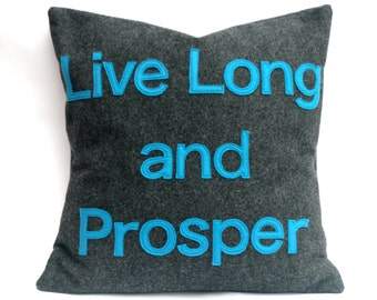Live Long and Prosper- Star Trek Pillow Cover in Charcoal Gray and Science Blue Eco Felt- 18 inches