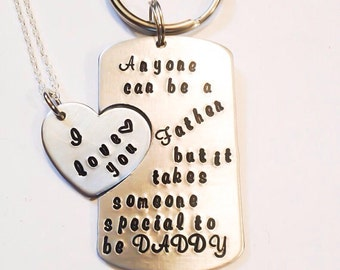 Daddy daughter jewelry, step father gift, dad adoption, dad daughter jewelry. Anyone can be a father but it takes someone special to be dad