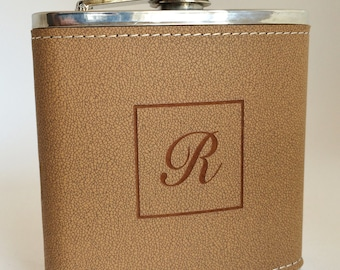 Monogram Leather Pocket Flask with Funnel Personalized Engraved Gifts for Men Under 20