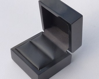 Ring gift box 1 x gloss black ebony luxury presentation case - Ideal for silver & diamond engagement jewellery