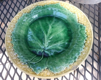 Antique Griffen Smith Hill Maple Leaf Majolica Plate