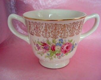 Vintage Homer Laughlin Sugar Bowl  Shabby Cottage Chic Rose Coverless Style