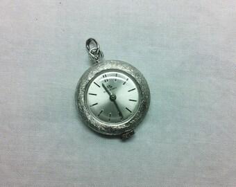 Bucherer Swiss Made wind up Watch,  Pendant, Silver Tone