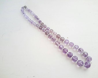 Faceted Amethyst Beaded Necklace,  Flapper Era,  Stunning