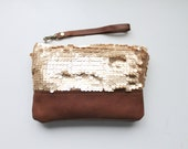 Gold sequin clutch, wristlet, zipper pouch, gold sequin and leather