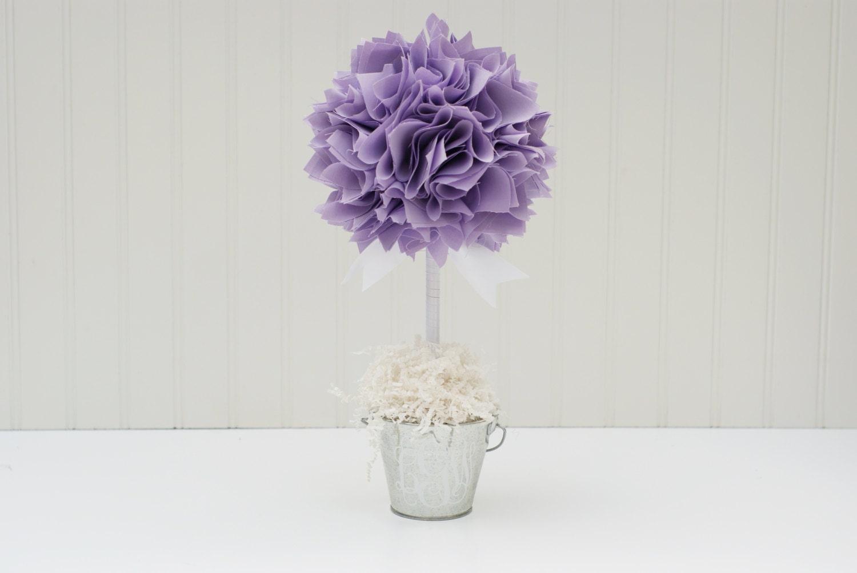 Purple topiary centerpiece baby shower
