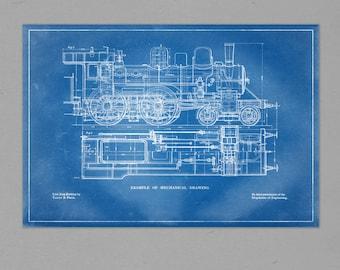"Steam Train Mechanical Schematic - 38"" x 26"" Blueprint Design"