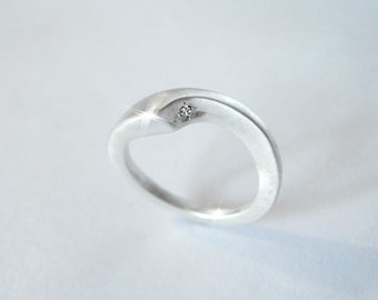 New Wave Sterling Silver diamond ring