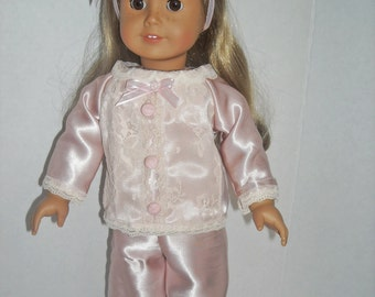 "American Girl  18"" Doll Pink Satin Pajamas and Accessoies"