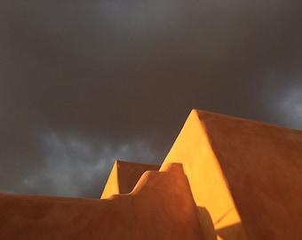 Santa Fe Photograph, La Fonda, Abstract Photograph, Sunset, Adobe, Santa Fe Art, Golden Light, New Mexico, Dark sky
