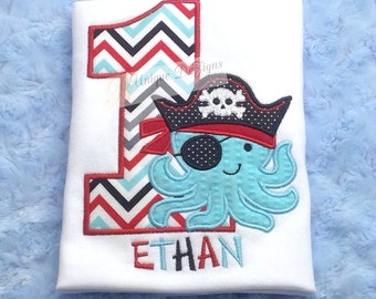 Pirate Octopus Shirt, Applique Birthday Number Shirt, Pirate Hat, Boys Chevron T-Shirt or Bodysuit, 1st Birthday Shirt