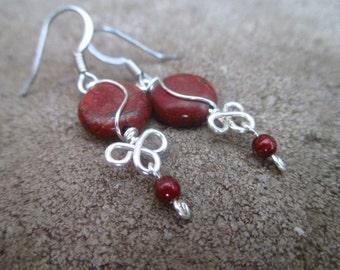 Red Creek Jasper Wire-Wrapped Earrings With Dangle