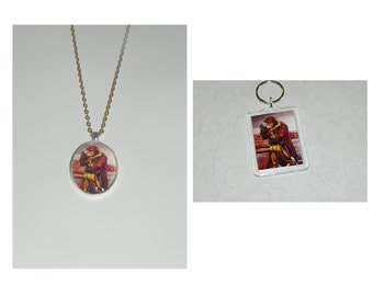 Gambit and Rogue Xmen Glass Pendant Necklace and/ or Keychain