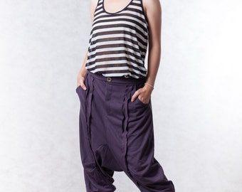 NO.154 Dark Violet Cotton-Blend Jersey Casual Harem Pants, Drop-Crotch Trousers