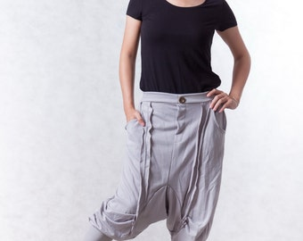 NO.154 Light Gray Cotton-Blend Jersey Casual Harem Pants, Drop-Crotch Trousers