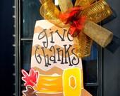 Door Hanger: Thanksgiving, Pilgrim Decor, Thanksgiving Decor, Door Decoration