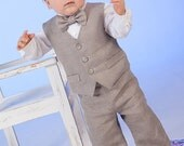 Baby boy ring bearer outfit boy baptism linen suit First birthday natural clothes Rustic wedding baby boy formal suit Baby vest pants shirt