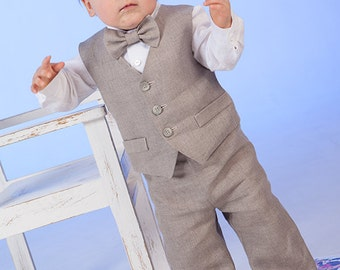 Ring bearer outfit Baby boy linen suit 1st birthday natural clothes Baptism outfit Rustic wedding baby boy formal suit Baby vest pants shirt