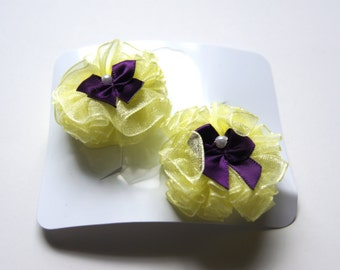 Yellow and Plum Pearl Dog Hair Bows