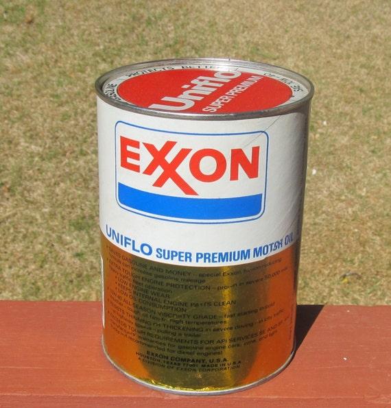 Vintage Exxon Uniflo 1 Quart Motor Oil Empty