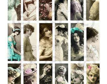 Victorian Women Vintage Ephemera 1x3 Slide, Microscope Slide Images ....Instant Digital Download No.02