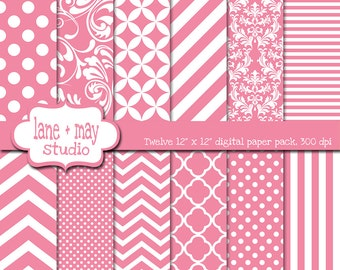 digital scrapbook papers - medium pink and white patterns - variety pack - INSTANT DOWNLOAD