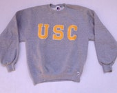Vintage USC Embroidered Letters Gray Sweatshirt Womens Medium Mens Small University of Southern California Los Angeles LA
