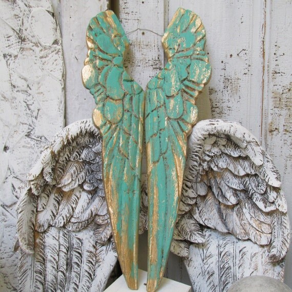 Angel Wings Wall Decor Sea Glass Gold Distressed Carved Wood