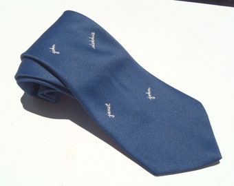 Vintage 1970s Wide Navy Blue John Janet Debbie Novelty Tie Felix Studios Hollywood
