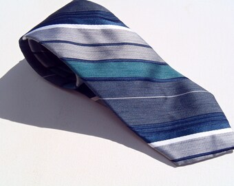 Vintage 1980s Gray Navy and Teal Diagonal Striped Tie by Damon