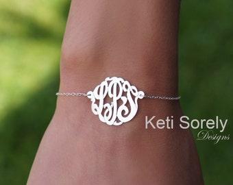 14K White Gold  Monogram Bracelet - Monogram Anklet (Order Any Initials)