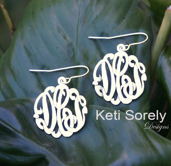 Personalized Monogram Earrings, Script Initials Earrings - Yellow Gold, Rose Gold or Sterling Silver Small to Large Earrings
