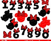 Minnie Mouse Red and Black Clipart Set