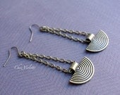 long metallic ethnic earrings, Bronze Inca earrings, Tribal Jewelry, Best seller