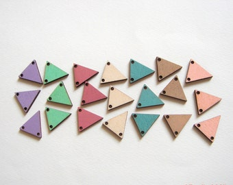 Ash Pastel Hand painted  Wood Triangles 20mm,Do it Yourself  necklace