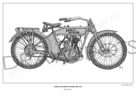 HARLEY DAVIDSON 10B, 1914 - Original Handmade Drawing Print, 11.5x16 in, trending tops