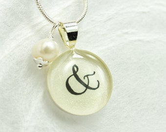 Ampersand Necklace, Ampersand Pendant with Freswater Pearl, & And Symbol Jewelry, You and Me Jewelry, Anniversary Gift, Best Friends Gift