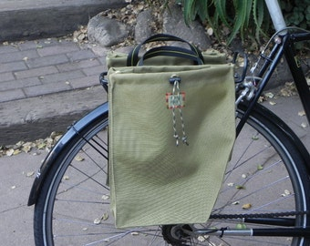 Khaki green bicycle panniers (set of two)