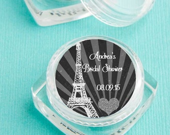 Lip Balm Bridal Shower Favor - personalized - Paris Theme Shower, black chalboard design- bridal shower favor, , bridesmaid gift - set of 12