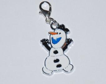 Disney Frozen Olaf Enamel Clip Charm, zipper pull, backpack, cell phone, purse clip, bracelet, necklace or scrapbooking.