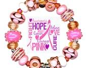 Handmade USA Lampwork Glass Beads Breast Cancer Awareness Pink White Bead Set