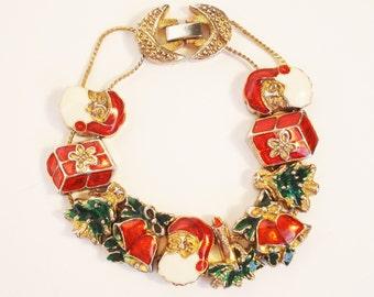 Vintage Christmas Slide Bracelet, Enamel Charm Bracelet, Santa Claus, Christmas Tree, Gifts, Candles, Bells