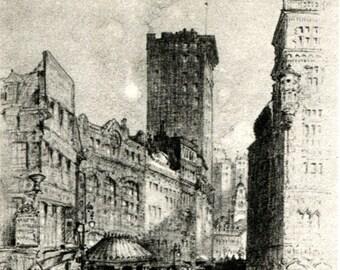 New England Architecture Drawing - Boston Pemberton Square - John Seaford - 1916 vintage art print