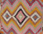 "VINTAGE Turkish Area Rug Kilim Carpet, Handwoven Kilim Rug,Antique Rug Kilim,Decorative Rug,Red Rug  44,8"" X 59"""