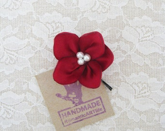 Burgundy Flower Hair Pin. Burgundy Red Flower Hair Piece. Bridesmaid Hair Accessory.