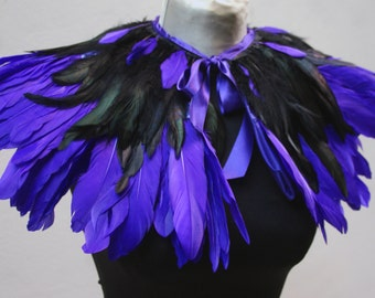 Purple and black  feathers shall.Shoulders  Feathers cape . gothic decadence costume ,vintage capelet .