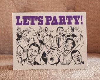 Let's Party Letterpress Card