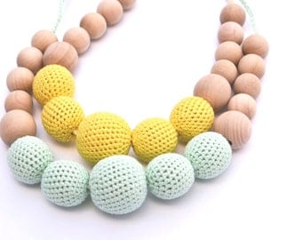 Custom Choice of any Color Crochet Nursing Necklace - Teething Necklace - Breastfeeding Necklace Gift For New Mother