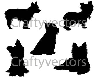 Yorkshire Terrier Dog SVG Silhouettes